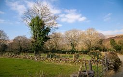 Schöne ländliche irische Landschaft mit Steinwand und grünem Gras Moundain-Landschaft mit Wirtschaftsgebäuden Lizenzfreie Stockbilder