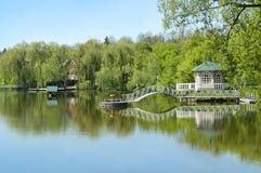 Schöne ländliche Landschaft mit Fluss und Laube Lizenzfreies Stockbild