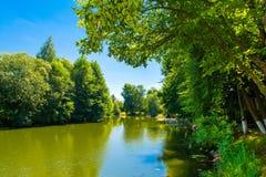 Schöne ländliche Sommerlandschaft mit See und und grünen Bäumen O Stockbilder