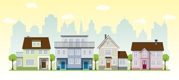 Schöne Landhäuser stock abbildung