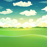 Schöne Landlandschaft Wolken Auch im corel abgehobenen Betrag Stockbild