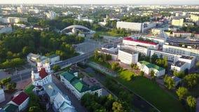 Schöne Landschaft auf dem Stadtzentrum von Vitebsk stock video