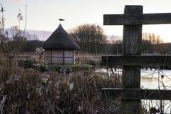 Schöne Landschaft auf eisigem Wintermorgen von Aalreusen über f Stockbild