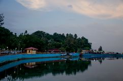 Schöne Landschaft in der Dämmerung des Andaman-Seedammes, zum von Blair India zu tragen Stockfotografie