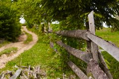 Schöne Landschaft der Grünfelder mit Bretterzaun Stockbilder