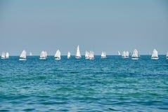 Schöne Landschaft des Meeres mit vielen Segeln auf dem Horizont Stockfoto
