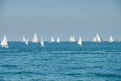 Schöne Landschaft des Meeres mit vielen Segeln auf dem Horizont Lizenzfreie Stockfotografie