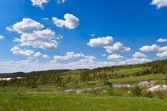 Schöne Landschaft, ein Hügel mit Kiefern und ein blauer Himmel mit Wolken lizenzfreie stockbilder