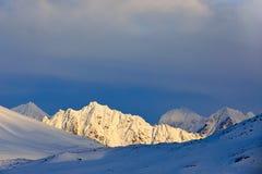 Schöne Landschaft Kaltes Meerwasser Land des Eises Reisen in arktisches Norwegen Weißer schneebedeckter Berg, blauer Gletscher Sv lizenzfreie stockfotografie