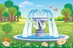 Schöne Landschaft mit einem Brunnen im Park Stockbild