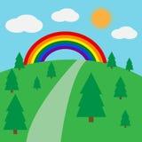 Schöne Landschaft mit einem Regenbogen Stock Abbildung