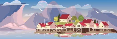 Schöne Landschaft mit einem See und einem Dorf lizenzfreie abbildung