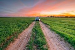 Schöne Landschaft mit einer Landstraße und einem Auto Foltsvagen Pol Stockfotos