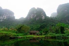 Schöne Landschaft mit Felsen und Reisfeldern in Ninh Binh und in Tam Coc in Vietnam stockfotos