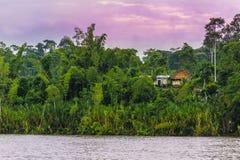 Schöne Landschaft mit Fluss, Dschungel und Hütten unter dem purpurroten Himmel lizenzfreie stockfotos