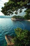 Schöne Landschaft mit Königin ` s Strand ADRIATISCHES MEER montenegro Lizenzfreie Stockfotos