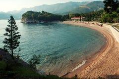 Schöne Landschaft mit Königin ` s Strand ADRIATISCHES MEER montenegro Stockfotografie