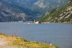 Schöne Landschaft mit See und Bergen, Boko Kotor, Montenegro Stockbild