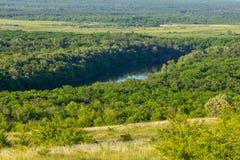 Schöne Landschaft mit Wald- und Flusshorizont lizenzfreie stockfotografie