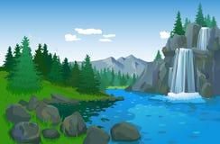Schöne Landschaft mit Wasserfall Stockfotos
