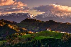 Schöne Landschaft Sloweniens, Natur und Herbstszene Lizenzfreie Stockbilder