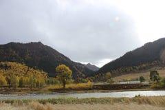 Schöne Landschaft von Gansu-Porzellan Stockbilder