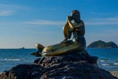 Schöne Landschaft von Samila-Strand in Thailand lizenzfreie stockfotografie