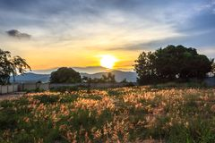 Schöne Landschaften mit Sonnenuntergang und blauem Himmel Stockbilder