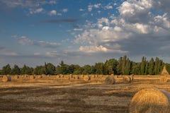 Schöne Landschafts-Landschaft: Goldener Hay Bales auf den geernteten Gebieten und blauer Himmel mit Wolken Lizenzfreie Stockfotografie