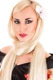 Schöne langhaarige blonde Frau Stockbilder