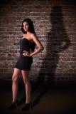 schöne lateinische Frau mit seinem Schatten stockfotos