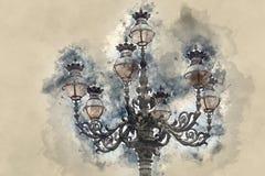 Schöne Laterne auf St. Peters Square in Catican-Stadt - Rom Lizenzfreies Stockfoto