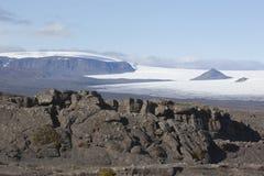 Schöne Lavaanordnung und Langjökull @ Island Stockbild