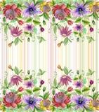 Schöne Leidenschaft blüht Passionsblume mit grünen Blättern auf gestreiftem Pastellhintergrund Nahtloses Blumenmuster Aquarell pa Stockfotos