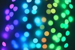 Schöne Lichter auf Dunkelheit Bokeh Effekt stockfotos