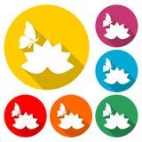 Schöne Lotosblume und Schmetterlingsikone, Farbikone mit langem Schatten Lizenzfreie Stockfotografie