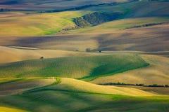 Schöne Luftlandschaft von Wellenhügeln in der ländlichen Natur lizenzfreie stockfotos