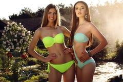 Schöne Mädchen mit dem langen geraden Haar, das eleganten Bikini trägt Stockbild