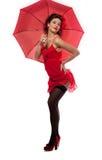 Schöne Mädchen Stift-oben Art mit Regenschirm lizenzfreies stockbild