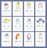 Schöne Mädchen in vertikalem Kalender 2018 der Hüte Jeden Monat auf einer unterschiedlichen Seite Vektorskizzenillustration in de Stockfoto
