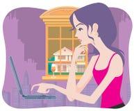 Schöne Mädchenbrandung das Web Stockbild