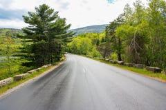 Schöne Maine-Straße im Nationalpark des Acadia Stockfoto