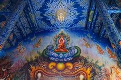 Schöne Malerei bei Wat Rong Sue Ten in Chiang Rai lizenzfreies stockfoto