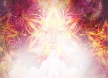 Schöne Malerei-Göttin-Frau mit dekorativer Mandala und Farbabstrakter Hintergrund und -wüste knistern Stockfoto