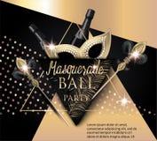 Schöne Maskeradefahne mit Maske, Flaschen Champagner und Dreiecke Gold und Schwarzes vektor abbildung