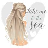 Schöne Meerjungfrau auf dem Herzhintergrund Stockfotografie