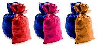 Schöne mehrfarbige Säcke Stockbild