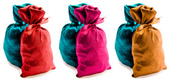 Schöne mehrfarbige Säcke Stockfoto