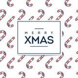 Schöne minimalistic fröhliche Weihnachtskarte mit der Zuckerstange nahtlos Stockfotos