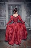Schöne mittelalterliche Frau im roten Kleid, hinter Stockbilder